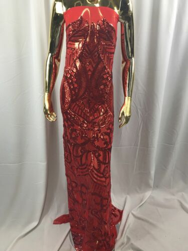 Fabric Lace By The Yard Sequins 4 Way Stretch Fashion Dress Red