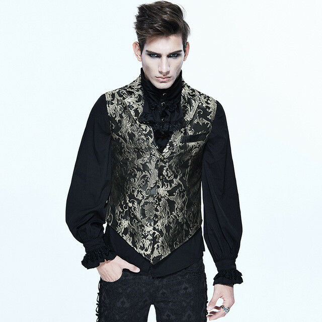 Steampunk Gothic Court  Men Embroidered Waistcoats  Sleeveless Coats Party Vests