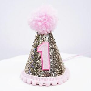 Image Is Loading Gold Glitter Sparkles Pink 1st Birthday Girl Cone