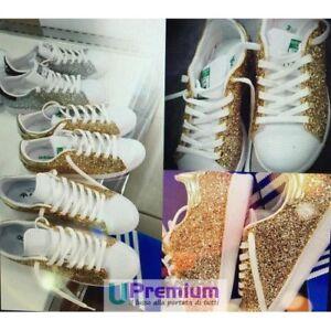 Adidas originals. Sparkly adidas shoes. Gold shoes. Bling
