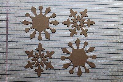 4 Bare chipboard Snowflake die cuts 2 each of 2 styles