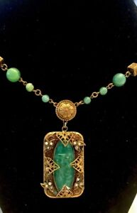 Antique-Czechoslovakia-Green-Glass-and-Exquisite-Necklace