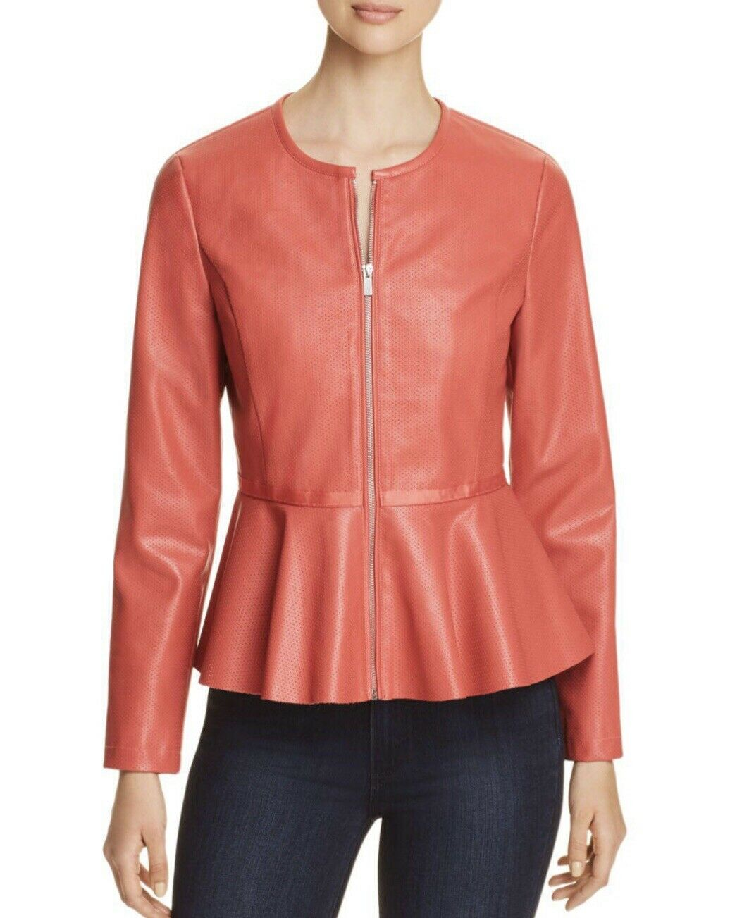 New Bagatelle Faux Leather Coral Peplum Jacket SIZE S NWT RETAIL
