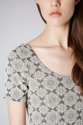 Monochrome Topshop Petite Tile Jacquard Bodycon Dress RRP £30 UK 12 New