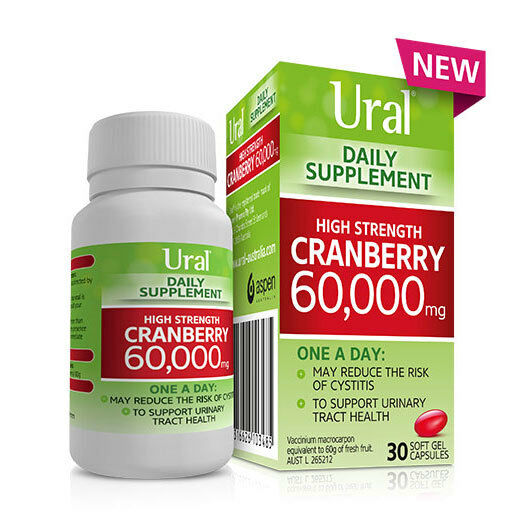 URAL  DAILY SUPPLEMENT HIGH STRENGTH CRANBERRY 60,000MG 30 CAPSULES CYSTITIS