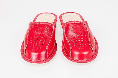 Las mujeres `s/ladies Cuero Zapatillas 100% Cuero Natural Talla: Uk 3,4,5,6,7,8 Rojo