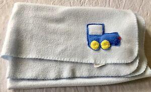 Stevens Squeaky Fleece Baby Blanket Blue Truck 30x40 Soft