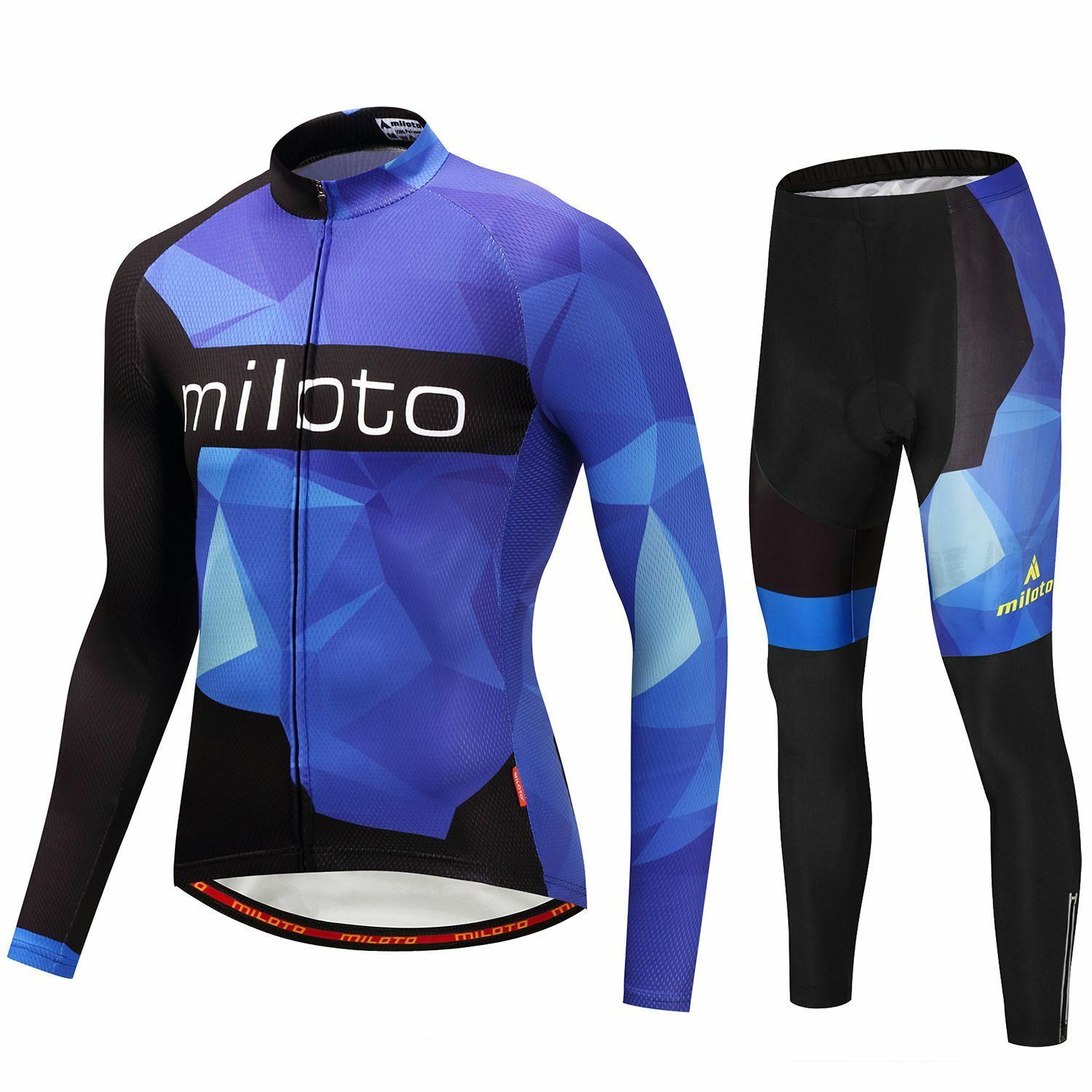 Mens Cycling Clothing Kit Long Sleeve Jersey & Padded (Bib)  Pants Tight Set bluee  discounts and more
