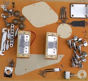 diy electric guitar kit bridge pickups machines cream plastics pots knobs lp ebay. Black Bedroom Furniture Sets. Home Design Ideas