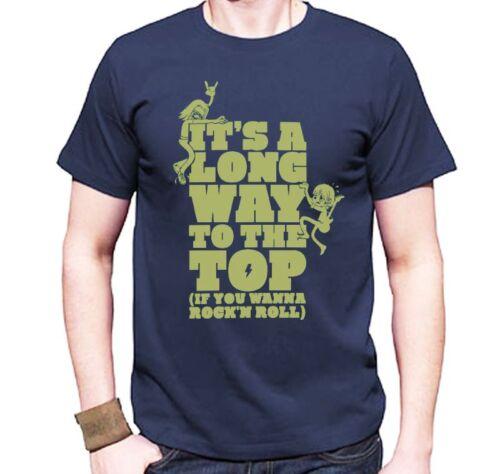 T-Shirt AC//DC maglietta Rock blu It/'s a long way...if you wanna rock /& roll