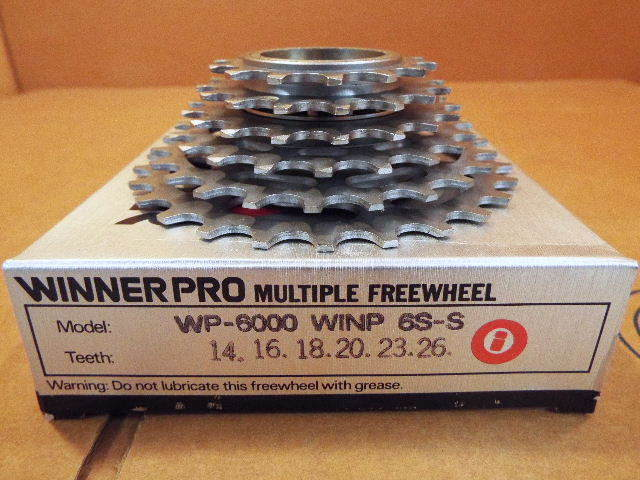 New-Old-Stock Suntour Winner Pro 6-Speed Freewheel (14x26) w Silber Finish