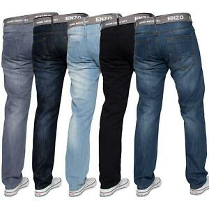Enzo-Mens-Straight-Leg-Jeans-Regular-Fit-Denim-Pants-Big-Tall-All-Waists-Sizes