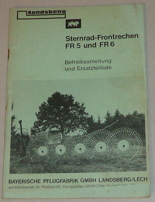 Motors Operating Instructions/parts Catalog Bavarian Pflugfabrik Sternrad-frontrechen