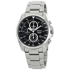 SEIKO MEN CHRONOGRAPH TACHYMETER BLACK DIAL 100M STEEL WATCH SNDD63 SNDD63P1