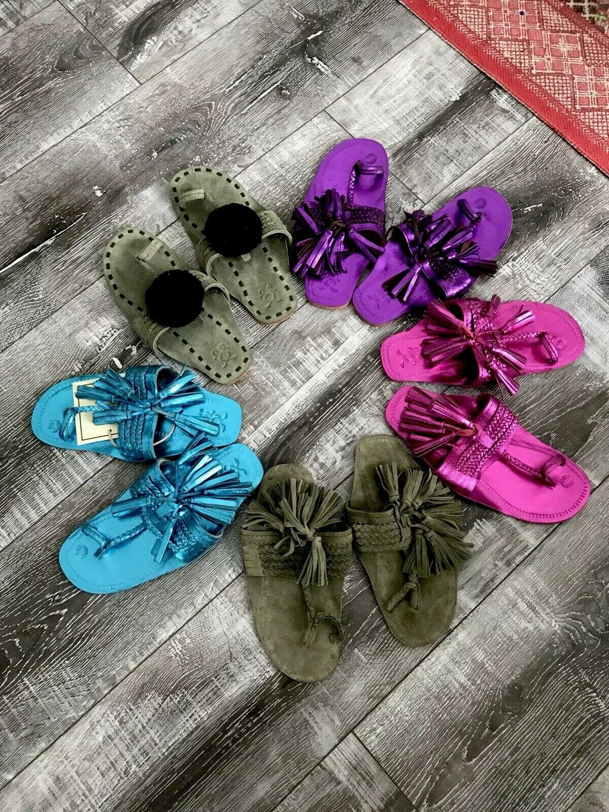 5 Pairs Of Gorgeousss Figue Slip-On Flat Sandals 5 (fits Like 6) NEW