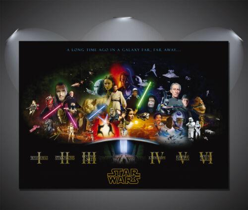 Vintage Star Wars Film Cast caractères toile impression artistique-A0 A1 A2 A3 A4