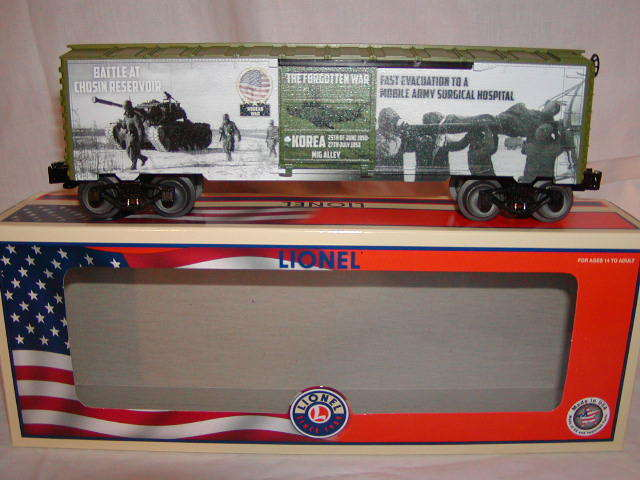 Lionel 6-84670 Korean War Box Car O 027 Made USA Battlefield Honor MIB Nuovo 2018