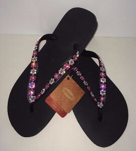 bff09fa52cce2c Image is loading Crystal-Flowers-flip-flops-Havaianas-made-with-SWAROVSKI-