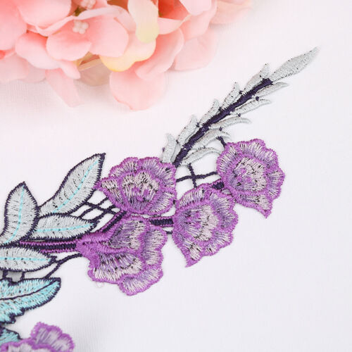 2X//set purple flower embroidery patches for clothes applique embroidery collar M