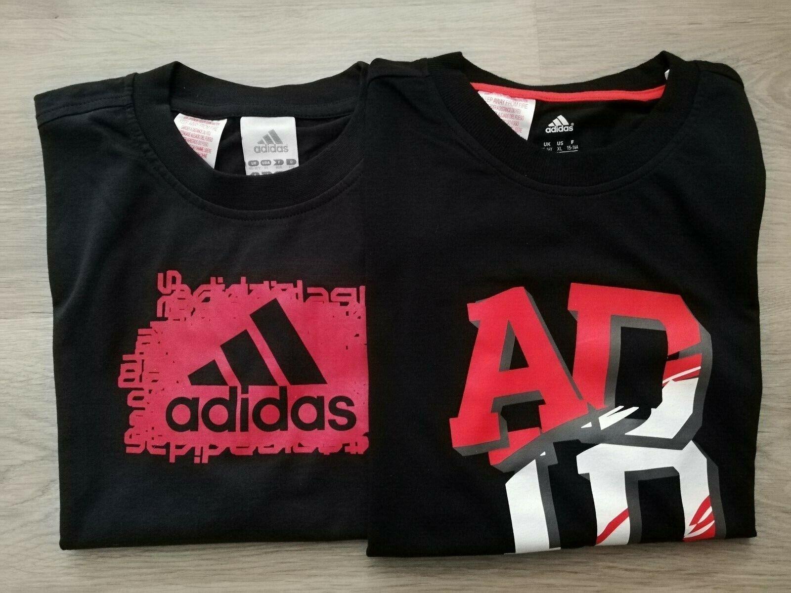 Adidas T-Shirts Set Herren schwarz rot Männer Sport NEU