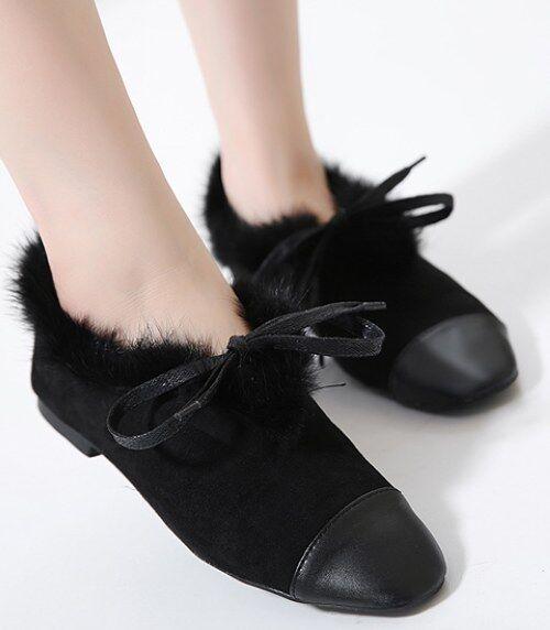 Bottes basses chaussures bas 3.5 cm noir élégant comme cuir 9289