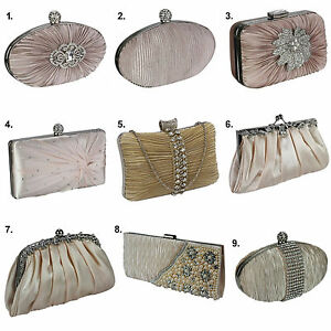 Image is loading Nude-Satin-Clutch-Bag-Beaded-Crystal-Wedding-Party-