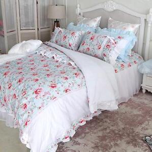 princess shabby chic floral blue white duvet comforter cover set queen double ebay. Black Bedroom Furniture Sets. Home Design Ideas