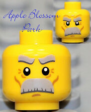 NEW Lego Angry Grandfather MINIFIG HEAD Male Business Man w/Gray Moustache Hair