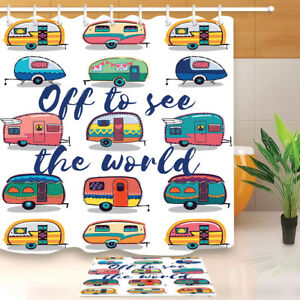 72-034-Shower-Curtain-Hooks-Waterproof-Fabric-Off-to-See-the-World-Retro-Camper-Fun