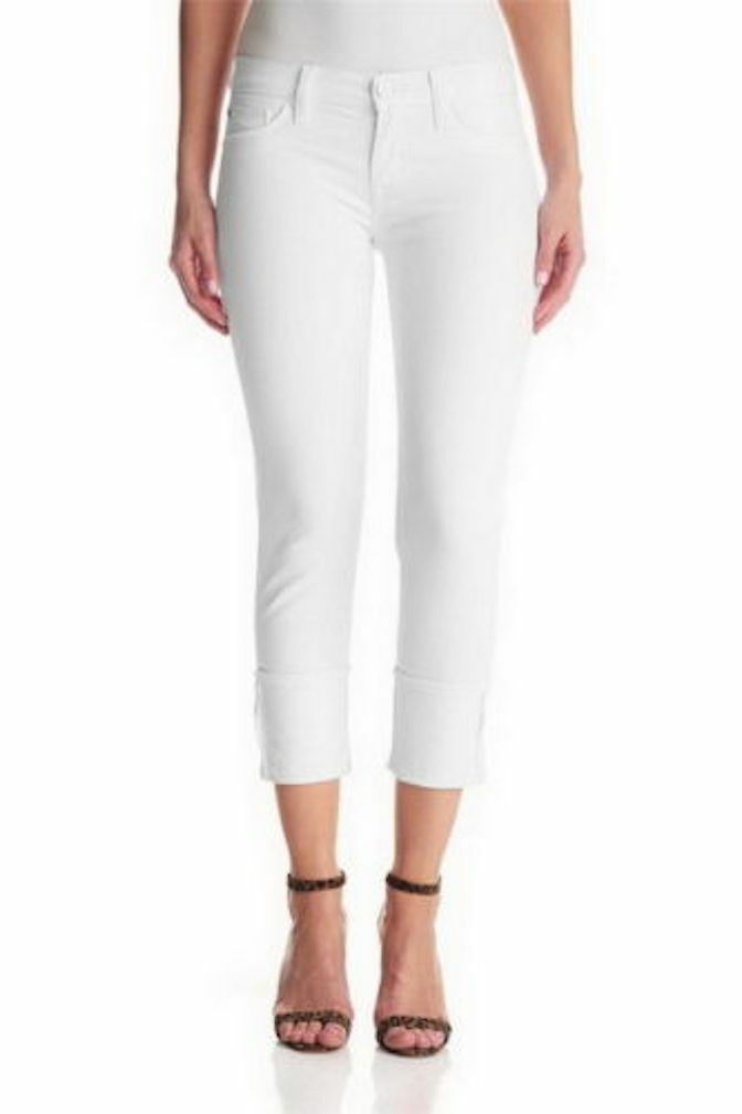 Hudson Jeans Muse Crop Skinny Jeans with 5  Inch Cuff White 28 NWT