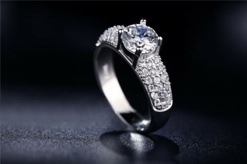 Iced Out Wedding Bands 925 Sterling Silver CZ Bling Micro-Pave Women Mens Ring