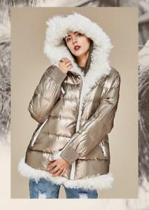 Jacket Daunen Lamb Echtfell Pelz Gold Down Lammfell Fur Metallic Jacke Feather 8FqHZtn1
