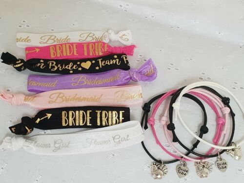 HEN PARTY BRACELET AND HAIR TIE GIFT BRIDE TRIBE TEAM BRIDE HEN OR HEART CHARM