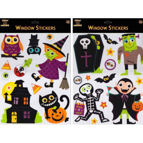 HALLOWEEN WINDOW STICKERS DECORATIONS DRACULA WITCH COFFIN HALLOWEEN PARTY SCARY