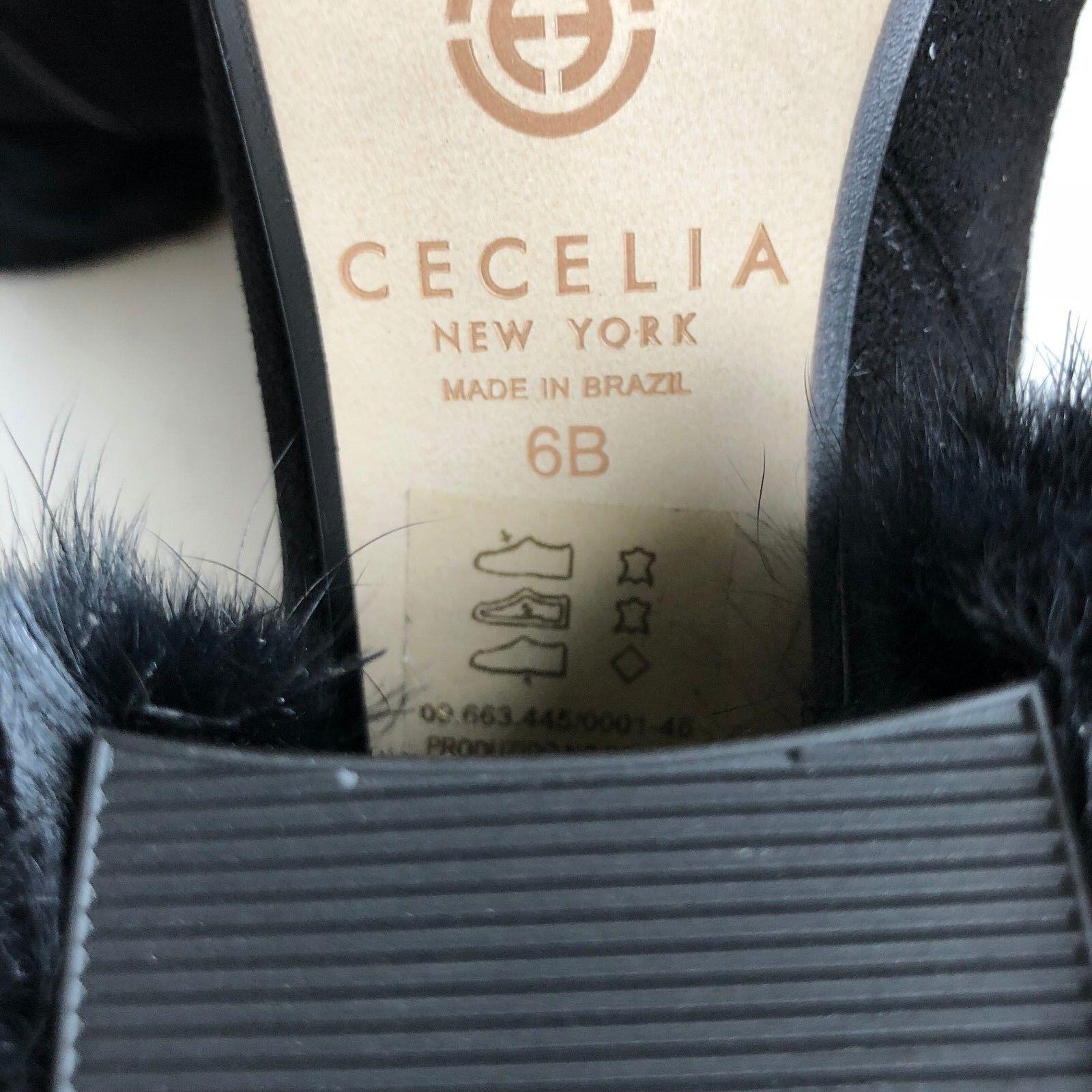 Santa Cecilia New York York York Mujeres Minot Genuina Piel de Zorro Pompón Botín Tobillo Cuero Talla 6 24cef8