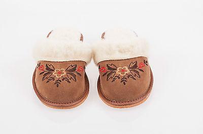 Mujeres Marrón 100% Lana Zapatillas De Cuero De Gamuza Zapatos Talla 3 4 5 6 7 8 Flip-Flop F