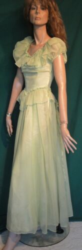 Mint Green Long 40's Side Zip Vintage Gown Long Dr
