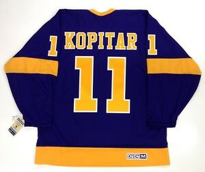 cheap for discount 1ae34 178a4 Details about ANZE KOPITAR LOS ANGELES KINGS VINTAGE CCM PURPLE JERSEY