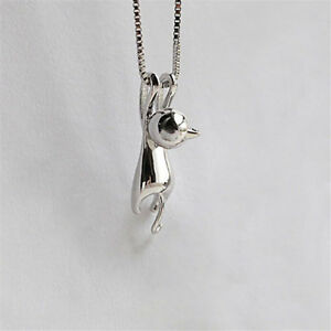 Pop-amp-Cute-Women-Glamour-Silver-Cat-Charm-Pendant-Chain-Necklace-Jewelry-G-LL