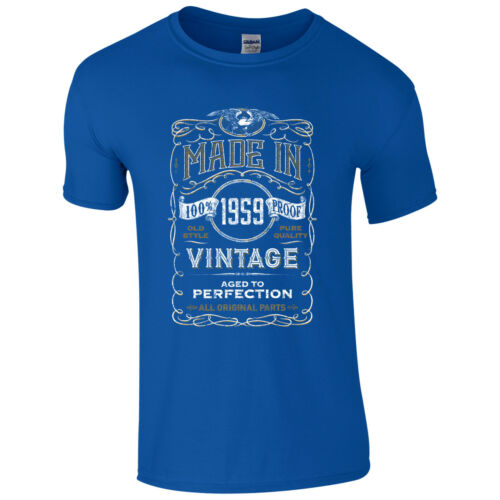 Made in 1959 T-Shirt Born 60th Year Birthday Age Present Vintage Funny Mens Gift