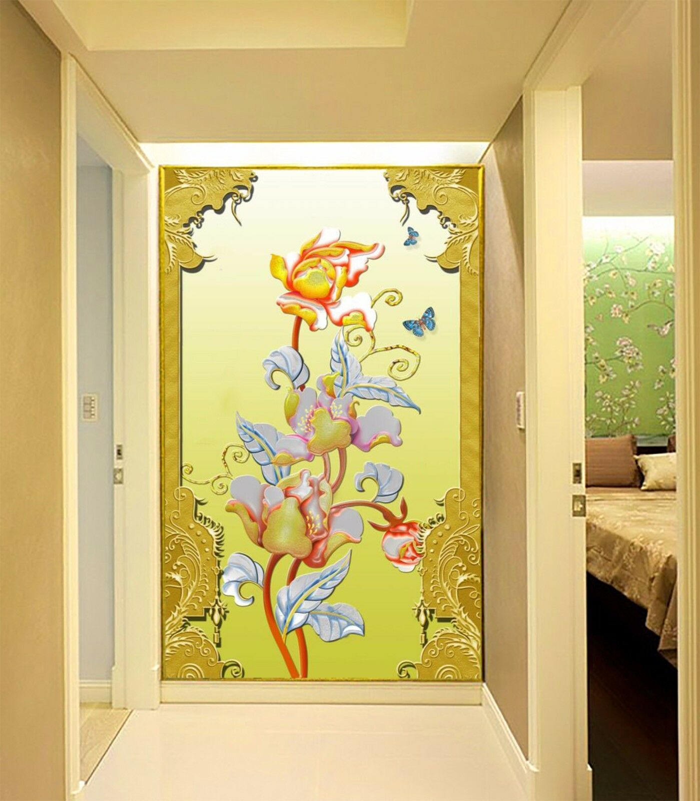 3D nice leaves,butterfly Wall Paper Wall Print Decal Wall Deco Indoor wall Mural