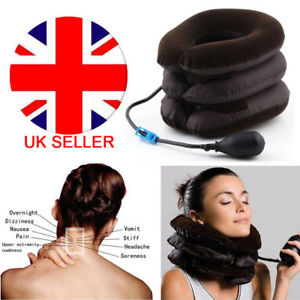 Air-Inflatable-Pillow-Cervical-Neck-Head-Pain-Traction-Support-Brace-Device-UK