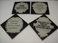 Pottery Barn Set Of Four Wine Sentiment Coasters -