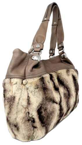 BRAND NEW B MAKOWSKY WOMEN BAG TAUPE NORA TOTE FAUX FUR $218.00