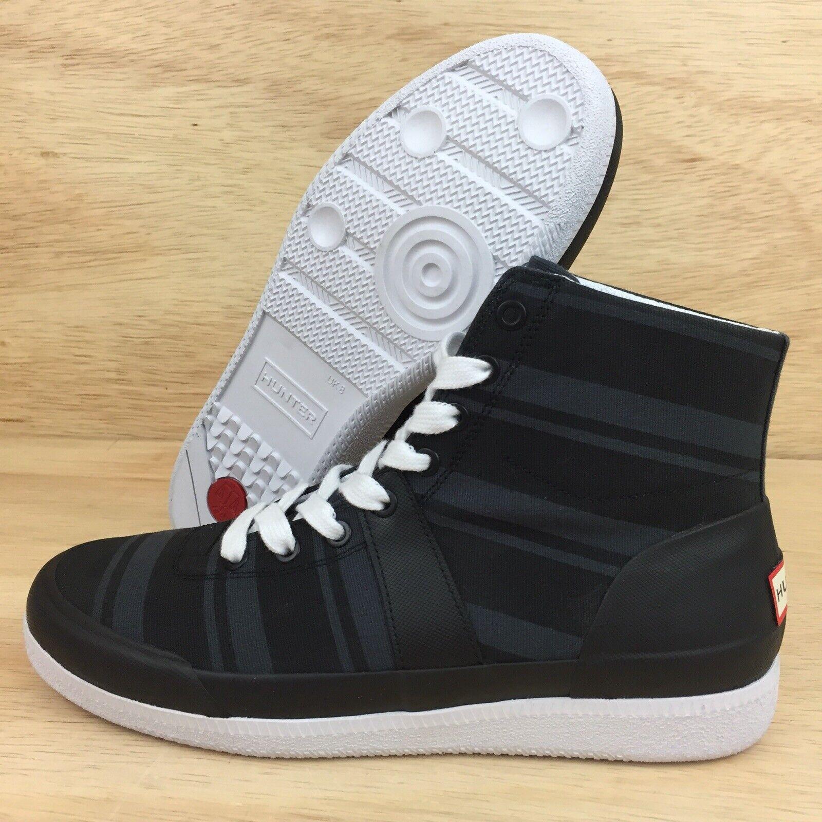 Hunter Original Garden Stripe Hi Top Sneakers Mens SZ 9 Black
