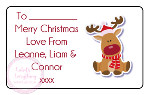 Christmas-Red-Reindeer-Personalised-Present-Stickers-Labels-Gift-Tags-Xmas