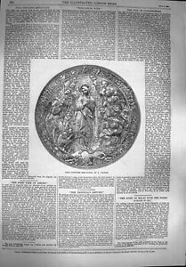 Original-Old-Antique-Print-1869-GRepousse-Medallion-Antoine-19th