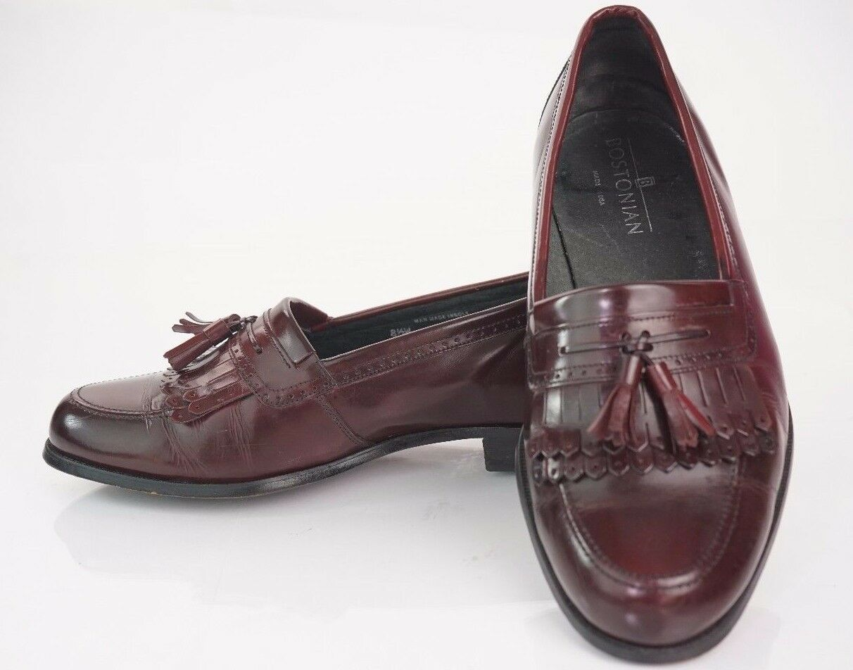BOSTONIAN  USA MENS TASSLE KILTIE SLIPON LOAFERS Size 8 1 2 Wide Burgundy