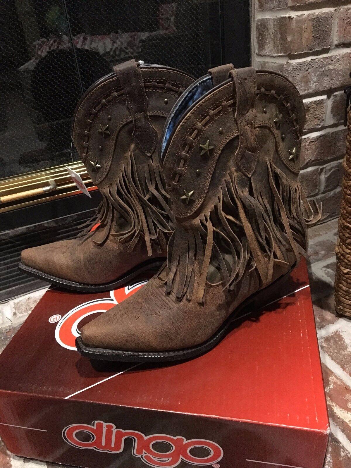 New Dingo Women's 8 M Hang Low Fringe Short Snip Toe Brown Boots DI7441       a5
