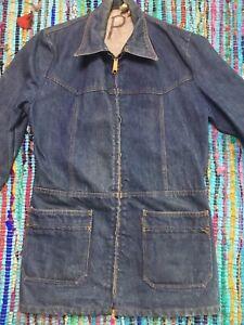 c0c32a60 Vtg 70s Levis Denim Jean Jacket Chore Long Coat Orange Tab Talon ...